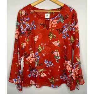 CABI Red Floral Devoted Blouse